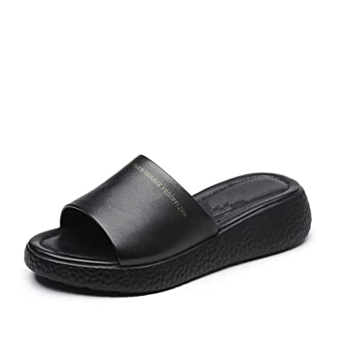 cbfec60b1b5d8 Image Unavailable. Image not available for. Color  Women Summer Comfortable  Breathable Soft Bottom Slippers Handmade Casual Shoes Genuine Leather Flats