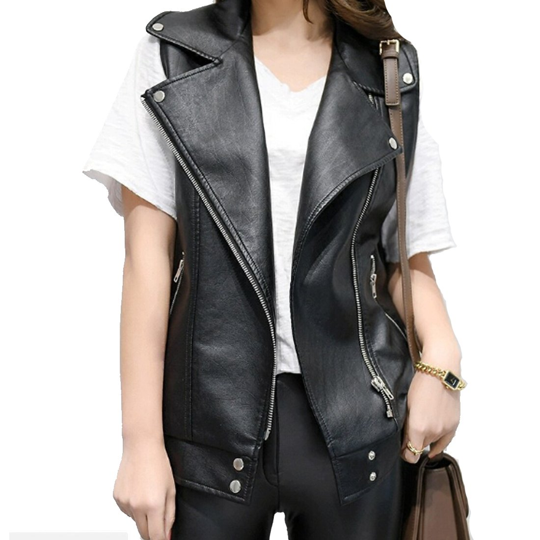 Osave Womens PU Leather Sleeveless Motorcycle Zipper Jacket Black Rivet Moto Vest (S) by Osave (Image #1)