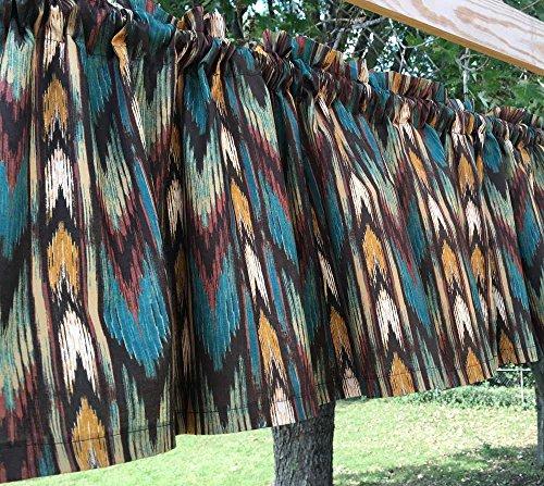 Southwestern Western Cowboy Stripe Brown Teal Tan Chevron Handcrafted Cotton Curtain Valance