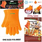 [Upgraded Resistant] iMagitek Oven Gloves, Silicone BBQ Grill Heat Resistant Gloves and Barbecue Gloves for Cooking, Boiling, Baking, Smoking & Potholder - NEWEST 2016 EDITION