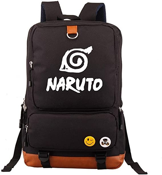 Naruto Anime Impreso Mochila de Lona Luminoso Mochila Informal Mochila Escolar Bolso de Lona Mochila para Mujeres y Hombres Mochila de Trekking Mochila Impermeable