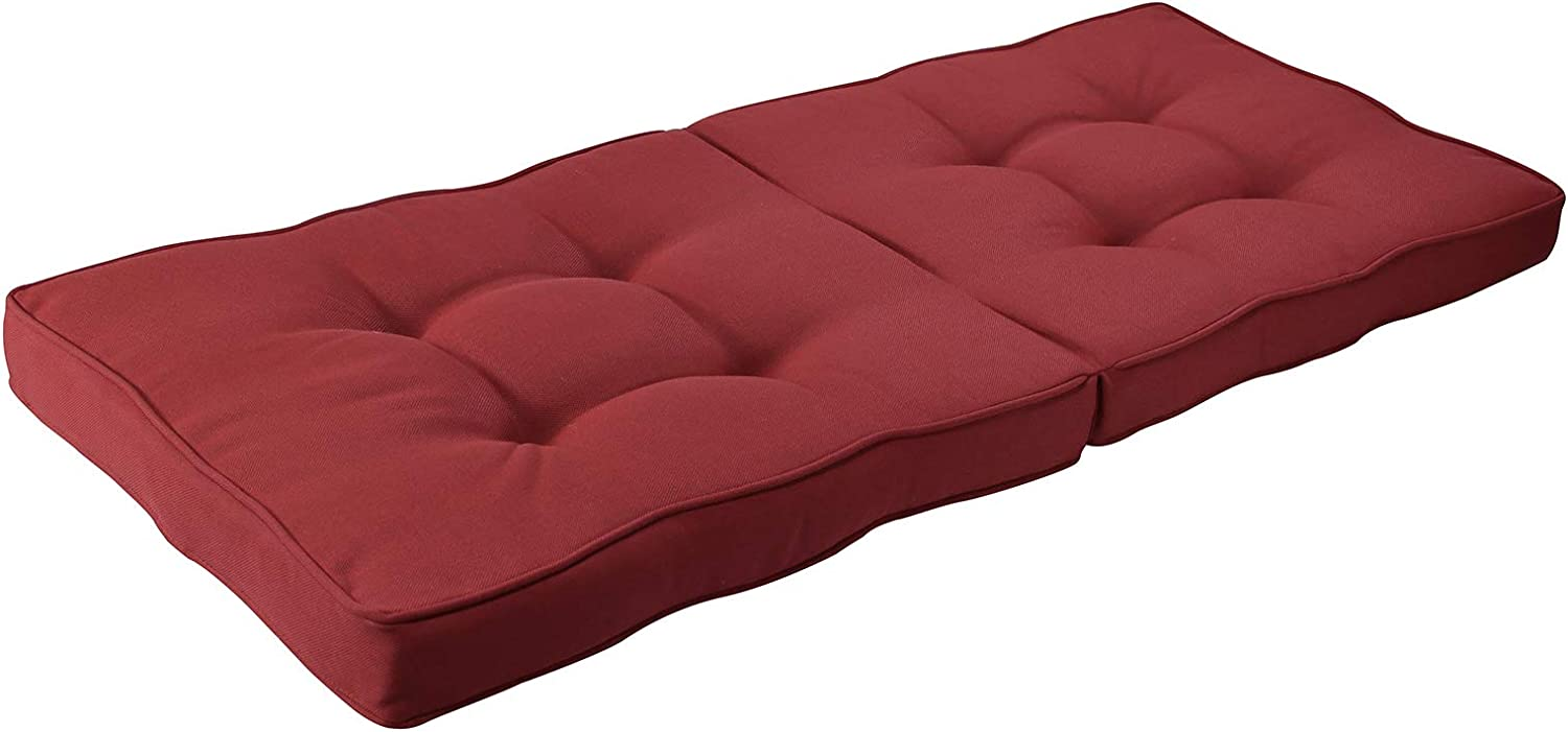 BOSSIMA Indoor Outdoor Swing Bench Loveseat Cushion Replacement Patio Seating Cushions (Olefin Red)