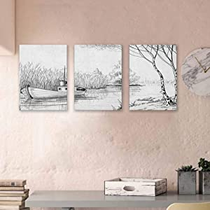 "Nature Art Paintings Boat on The River by The Water Reeds Fishing Lake Plants Hand Drawn Style Nature Wrapped Gallery Wall Art Framed Ready to Hang, 24""x35"" x3 Panels Black White"