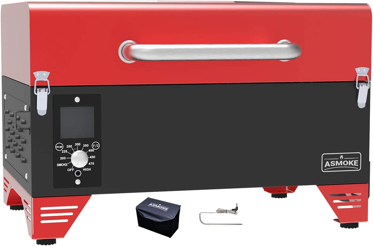 ASMOKE Portable Wood Pellet Grill and Smoker with Auto Temper Control, 8 in 1 BBQ Grill Set AS300, 256 Sq. in. Cooking Area - Includes Waterproof Grill Cover and Meat Probe, Apple Red