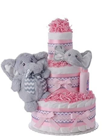 Amazon Lil Baby Cakes Pink Elephant Friend Girl Diaper Cake