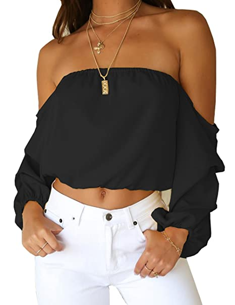 7f713e0c05 Women's Summer Long Sleeve Tube Blouse Chiffon Crop Top Short Blouses  Shirts S Black