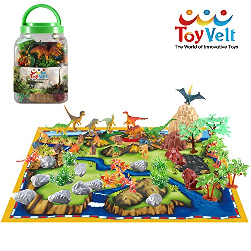 50 Piece Dinosaur Play Set: Ultimate Educational Toy of 20 Realistic Dinosaurs + 29 Trees & Rocks + PlayMat | Walking Dinos with Moving Jaws To Develop Kids Imagination | Top Dinosaur Gift Set by ToyVelt