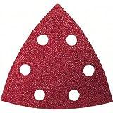 Bosch 2609256957 Set de 10 feuilles abrasives bois delta 93 mm 6 trous grains 60/80/120/180/240 accessoires Starlock