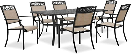 Hanover LISBON7PC-TAN 6 Sling Stationary Chairs and 39 in. x 68 in. Cast-Top Table
