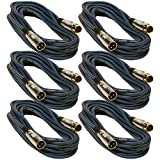 Seismic Audio 6 Pack of 25 Foot Gold Plated Blue XLR Mic Microphone Patch Cable Cord Balanced SAPGX-25Blue-6Pack