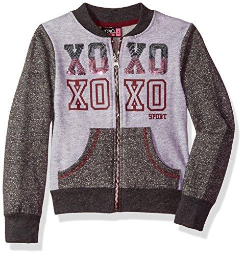XOXO Little Girls' Fleece Bomber Jacket, Charcoal Heather, 6X