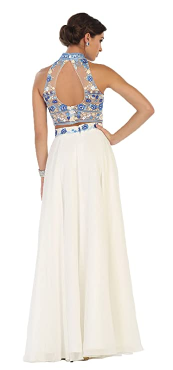 May Queen MQ1421 Choker Two Piece Prom Dress at Amazon Womens Clothing store: