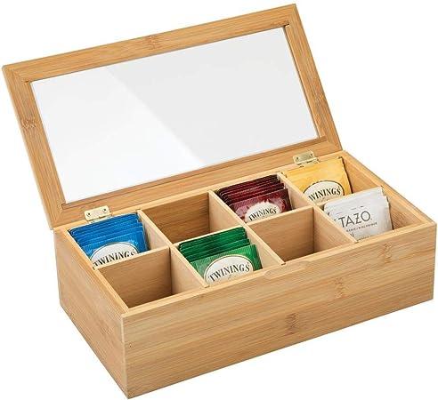 mDesign Caja de té Hecha de Madera – Caja para infusiones con 8 ...