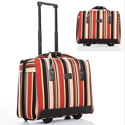 CHERRIESU 18 inch Striped Carry On Trolley Suitcase Oxford Cloth Waterproof Luggage Box Universal Wheel Suitcase for Women Travel Outdoor