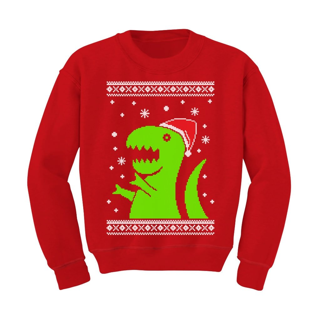 TeeStars - Big Green Trex Santa Ugly Christmas Sweater - Funny Kids Sweatshirt GM0alPgfm