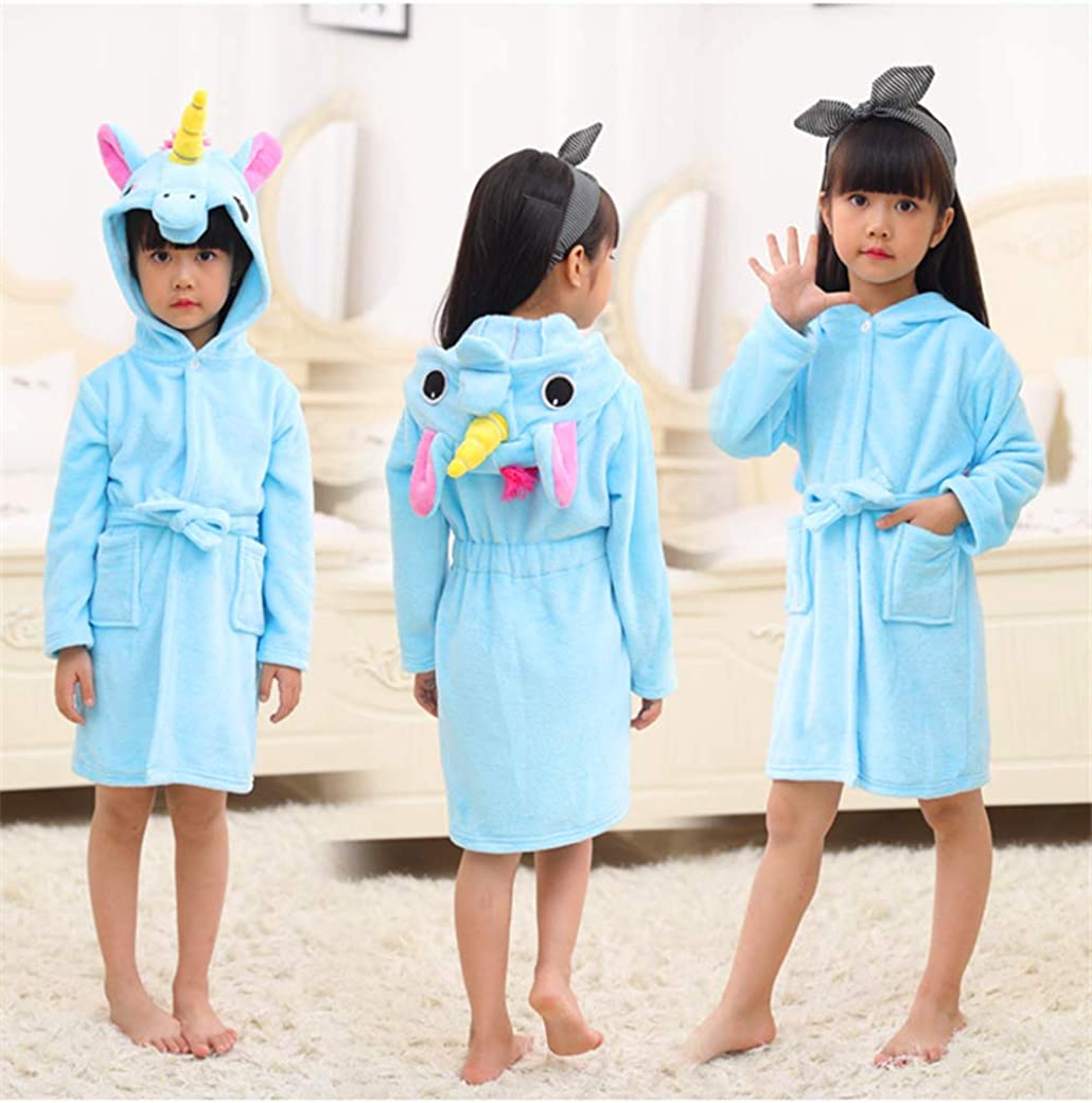 CM-Kid Girls Bathrobes Unicorn Hooded Towel Robe Kids Dressing Gown Soft Warm Flannel Robes for Age 1-7 Years