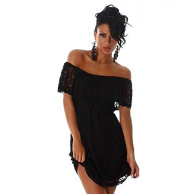 c9c5709522fe3a Voyelles Damen Kleid florales Spitzenkleid Carmen-Ausschnitt Minikleid  Schwarz 40