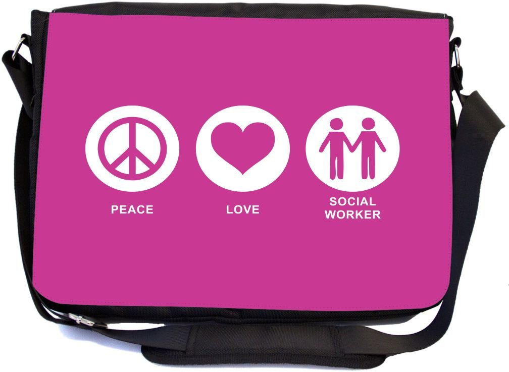 Rikki Knight Peace Love Social Worker Rose Pink Color Design Combo Multifunction Messenger Laptop Bag - with Padded Insert for School or Work - Includes Wristlet & Mirror