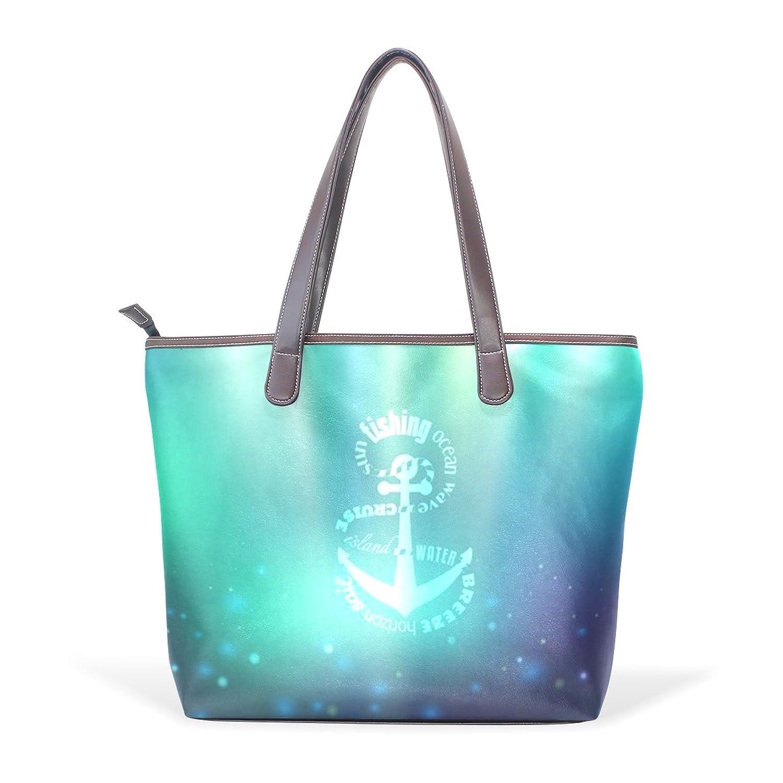 Womens Leather Tote Bag,Fresh Blue Marine Sea Anchor,Large Handbag