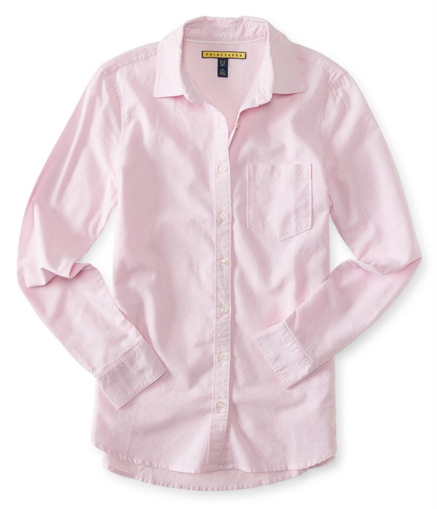 Aeropostale Womens Oxford Button up Shirt Pink M - Juniors