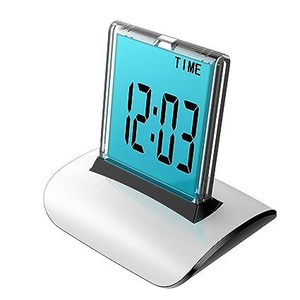 Reloj despertador digital, rademax LCD Protector de empuje reloj despertador 7 colores cambiantes mesa escritorio