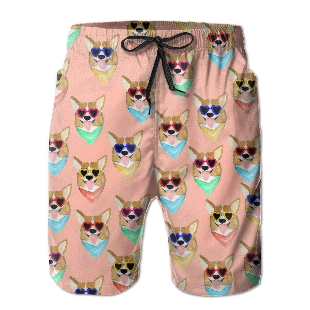 Big Boys Colorful Corgi Love Sunglass Tropical Swim Trunks