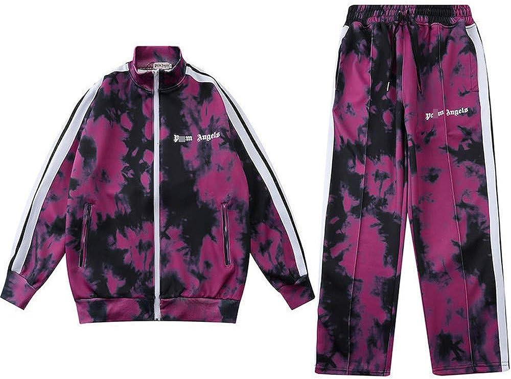 GGJC Handsome Sportswear Set Palm Angels Felpa con Cappuccio a Maniche Lunghe Pantaloni da Palestra Fitness Running Yoga Tuta da Allenamento