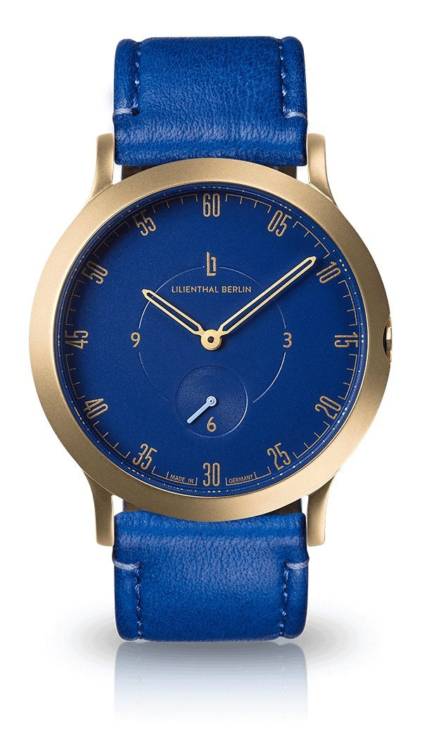 Lilienthal Berlin -Made in Germany- ベルリンの新しい時計モデル L1 ステンレススチール ケース B078WR9DFY Size: 42.5 mm|Case: gold / Dial: blue / Strap: lapis Case: gold / Dial: blue / Strap: lapis Size: 42.5 mm