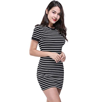 2a9a1749ea3 Amazon.com  Hemlock Stripe Bodycon Dress Women Juniors Family Party Dress  Slim Office Working Dress (L