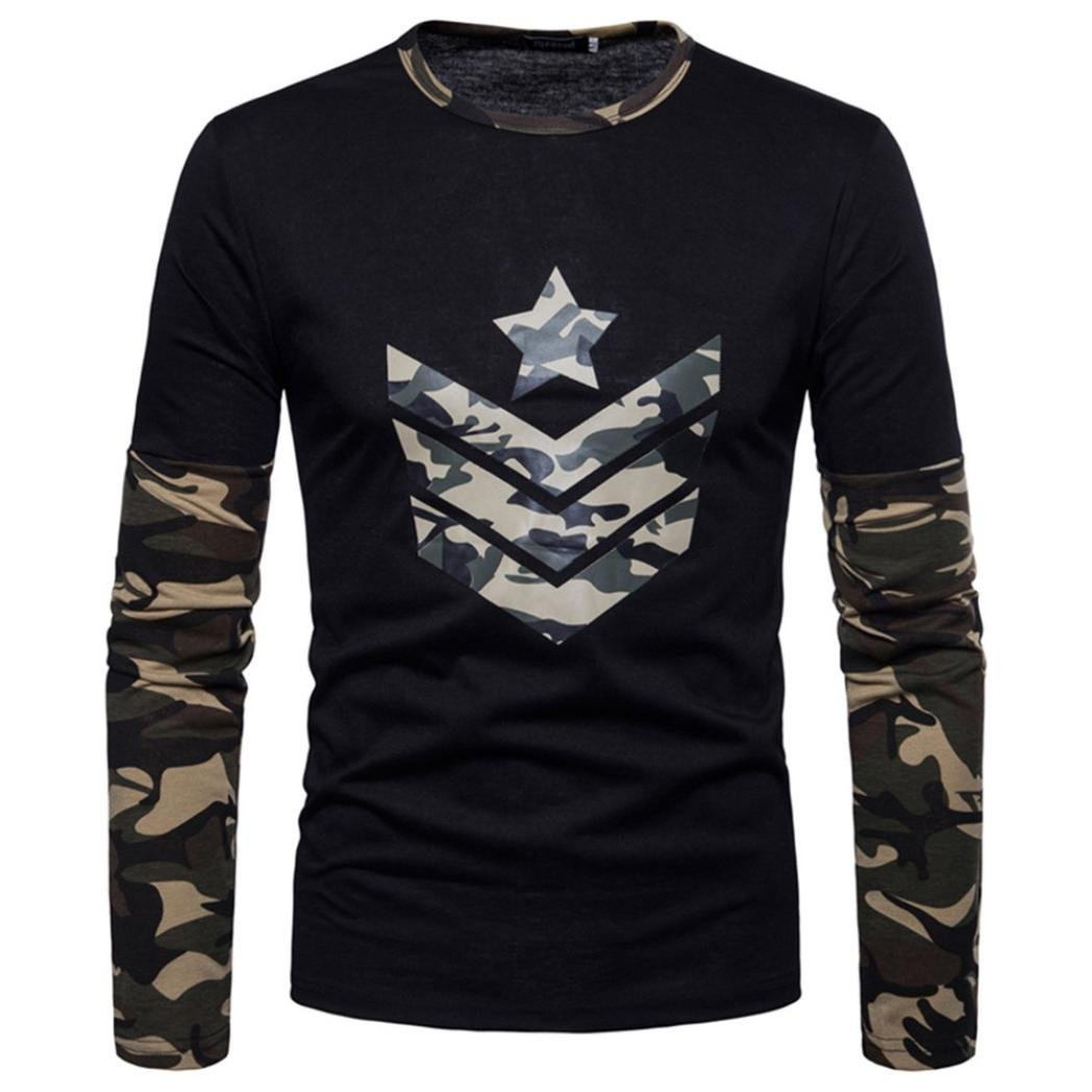 Clearance Sale Mens T Shirts vermers Fashion Mens Autumn Camouflage Print Joint Long Sleeve Sweatshirts Top Blouse(2XL, Green)