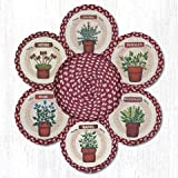10''X10'' Red/Tan Herbs Round Trivet in a Basket - Set of 7