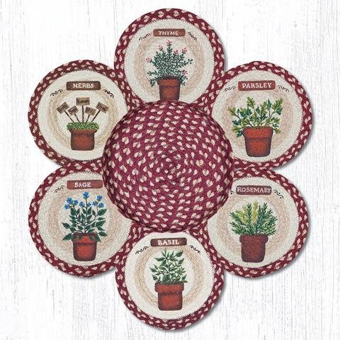 10''X10'' Red/Tan Herbs Round Trivet in a Basket - Set of 7 by Heart of America