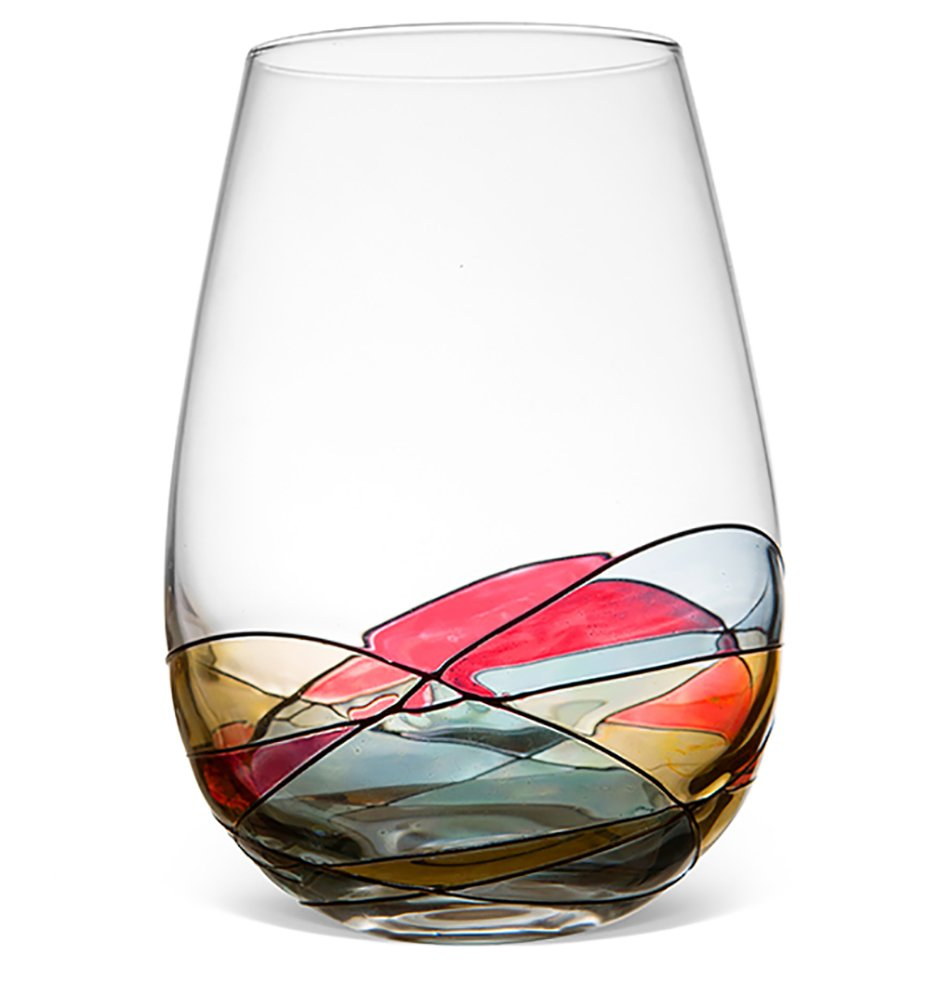 Antoni Barcelona Hand Painted Stemless Wine Tumbler Unique