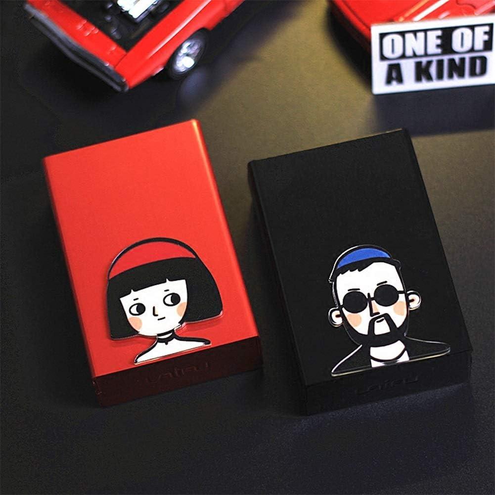 N / A Pareja Cigarett Case 20pcs Capacidad Ultra-Delgada Carcasa de Metal Aleación de Aluminio Creativo Hombres y Mujeres Cubierta automática portátil Cigarett Box (Color : Black+Red(Ordinary))