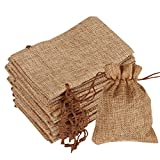 Cubaco Burlap Bags with Double Drawstring Pouch Bags Gift Bags for Jewelry DIY Craft Wedding Party (Natural, 50 Pcs)