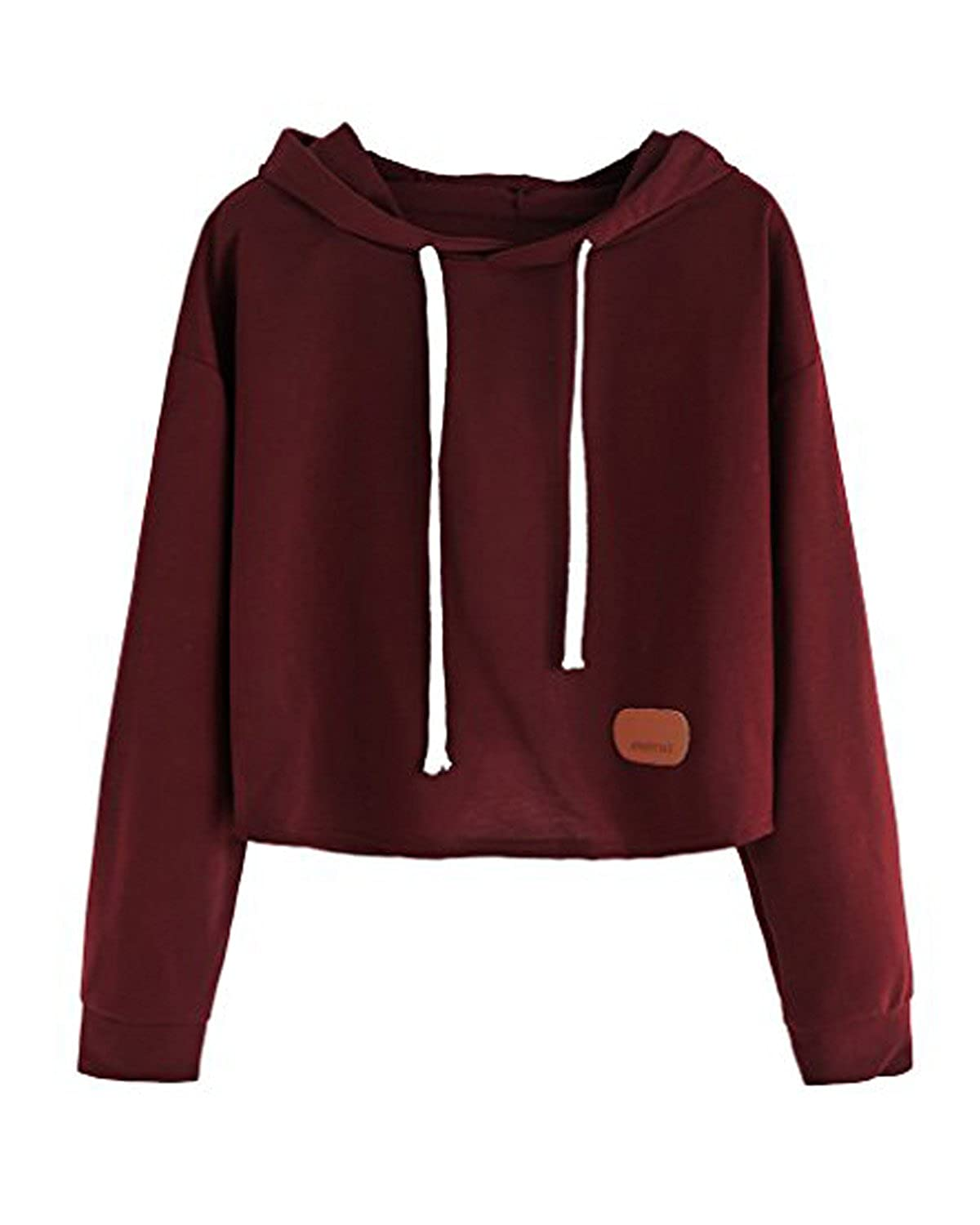 8ce5f1029d91 Maybest Women Autumn Fashion Hoodies Long Sleeves Shirts Sweatershirt Crop  Top Pullover Sports Tops Sweater Black One Size at Amazon Women s Clothing  store