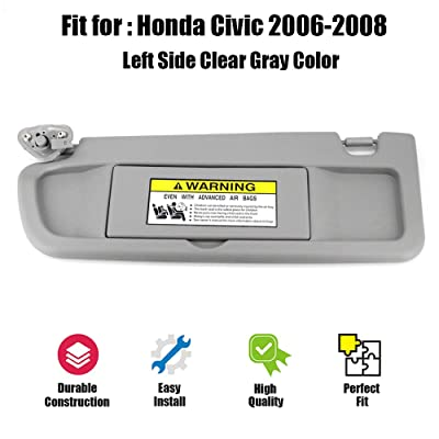 ustar Sun Visor Left Driver Side Fit for Honda Civic 2006 2007 2008 Without Vanity Light Replacement Part #83280-SNA-A01ZC (Clear Gray, 2006-2008): Automotive
