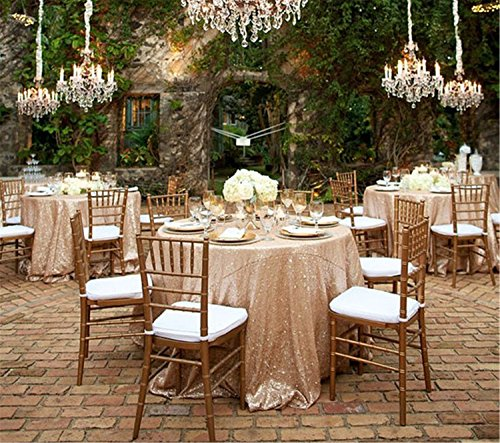 Cheapest 10PCS 120inch Round Sequin Tablecloth, Champagne Table Cloth Sparkly Wedding Tablecloth Evening Party Decoration by LQIAO