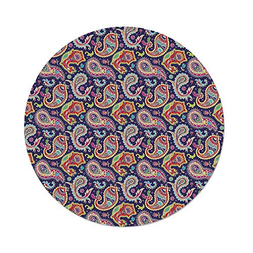 iPrint Polyester Round Tablecloth,Paisley Decor,60s and 70s Hippie Themed Motives with Geometrical and Floral Design Image,Purple,Dining Room Kitchen Picnic Table Cloth Cover,for Outdoor Indoor ()