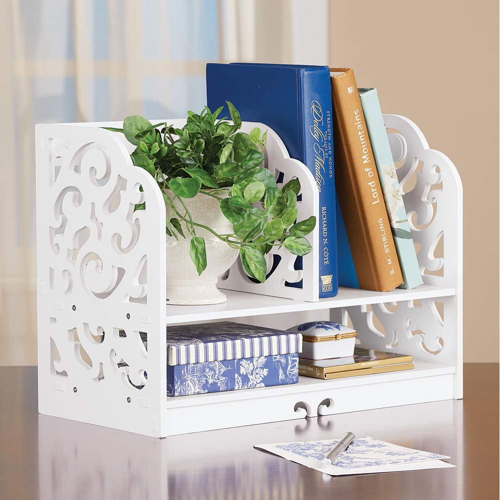 White Scrolling Two-Tiered Book Rack and Storage Beautiful Tabletop Office Organizer and Decoration