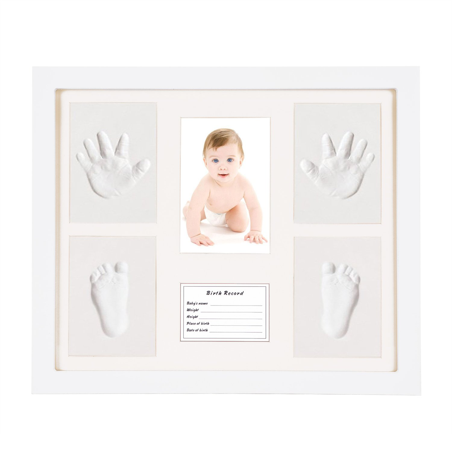 Newborn Babyprints Handprint Kit Footprint Makers Keepsake Frames Baby Gifts Memorable Decorations for Newborn DIY Creative Room Wall Table Décor Pictures (Wooden Frame + White Inkpad) Non Toxic Clay