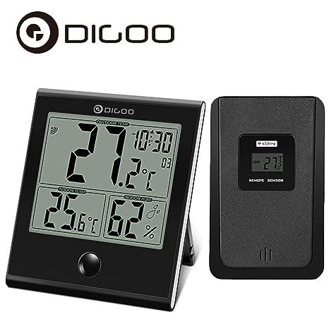 DIGOO TH-1180 Termómetro digital interior/exterior, higrómetro, temperatura humedad, reloj