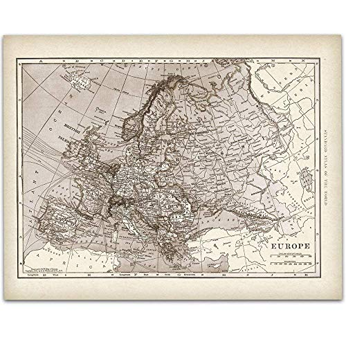 1901 Map of Europe - 11x14 Unframed Art Print - Great Vintage Home Decor Under ()