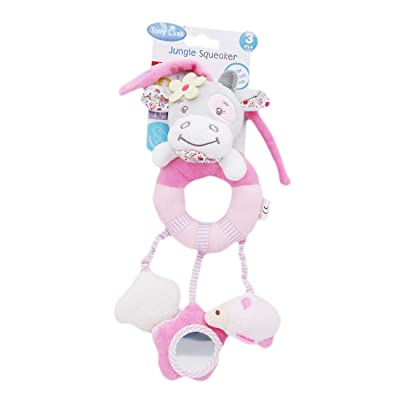 ZALING Plush Cartoon Animal Stroller Hanging Rattle Toy Baby Bed Crib Car Seat Travel Stroller Soft Plush Toys, Pink Cow: Toys & Games