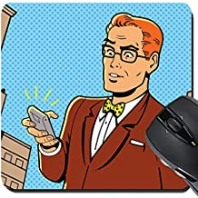 MSD Suqare Mousepad 8x8 Inch Mouse Pads/Mat design 20686993 Ironic Illustration of a Retro 1940s or 1950s Man With Glasses Bow Tie and Modern Smartphone