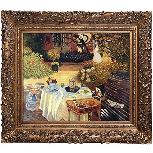 overstockArt The Luncheon Oil Painting with Burgeon Gold Frame by Monet, Organic Pattern Facade with Gold Finish