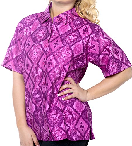La Leela Likre Spring Printed Matching Hawaiian Clothes Plain Embroidered Fiesta Girls alohawear Cotton Diamonds Geometric Violet M (Silk Printed Camp Shirt)
