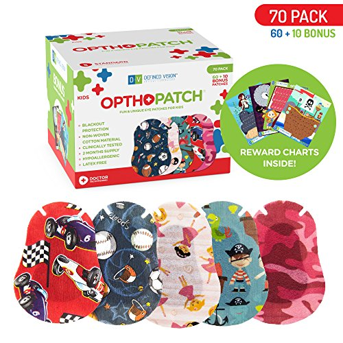 Kids Eye Patches - Fun Boys and Girls Design - 60 + 10 Bonus Latex Free Hypoallergenic Cotton Adhesive Bandages For Amblyopia and Cross Eye - 2 Reward Chart Posters - Optho-Patch by Defined Vision