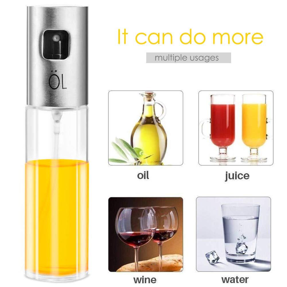 HZQ Dispensador de pulverizador de aceite Premium 304 Acero inoxidable para asar a la parrilla Botella de vidrio de aceite de oliva 100 ml para ...