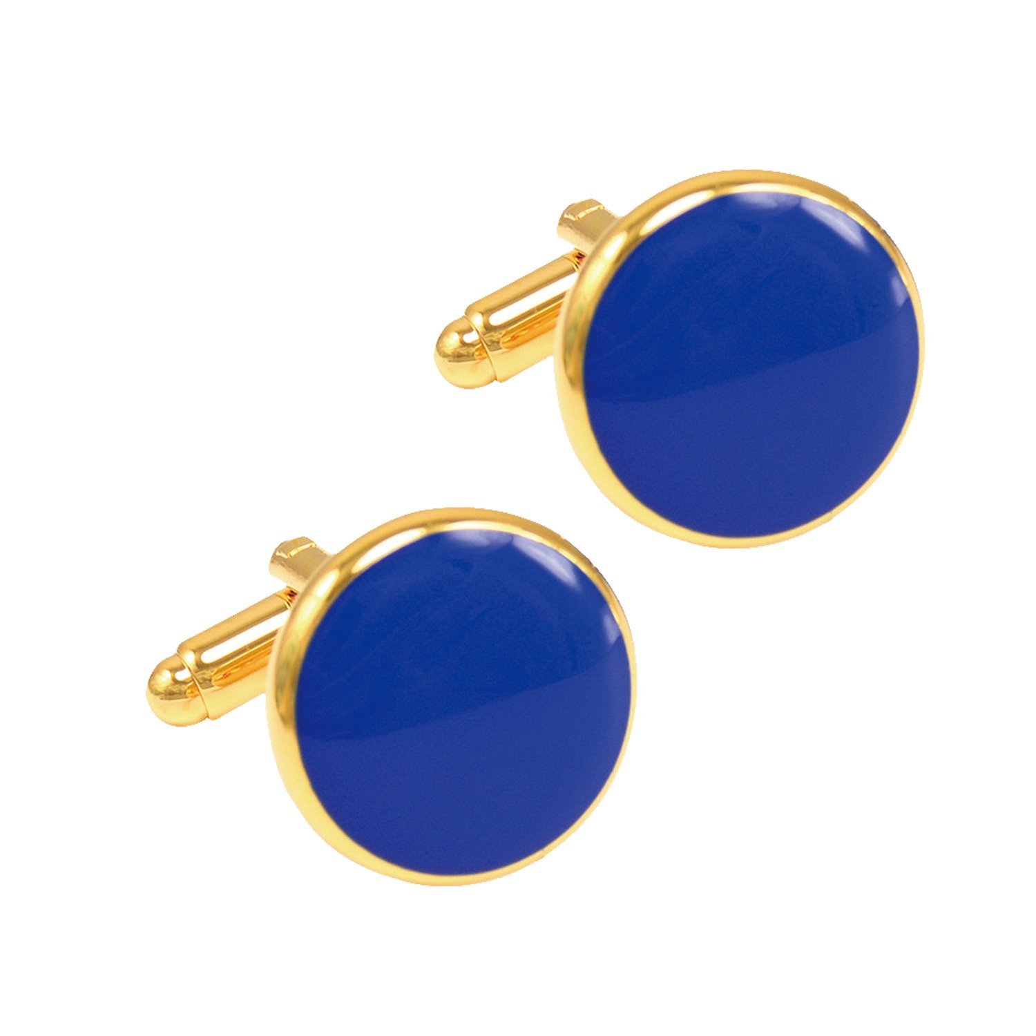 Daptsy High-end Simple Custom Initial Business Men's French Shirt Round Gold Blue Cufflinks